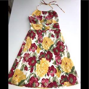 Ann Taylor loft Petite Floral Halter tie deess 4p